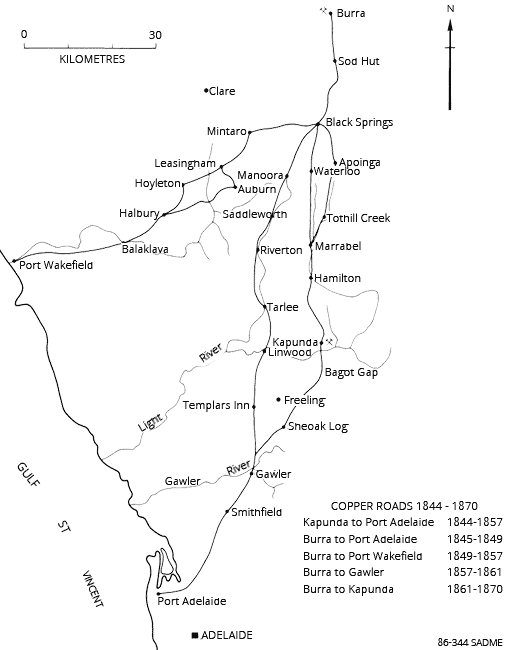 Cartage roads from Burra to the coast from 1844