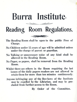 The Burra Institute Library provided a free public reading room and a lending service