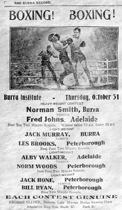 Boxing Tournament on Thursday 31 October at the Burra Institute was well publicised, but poorly attended.