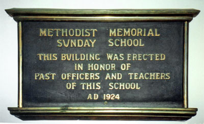 Burra Redruth Sunday School plaque