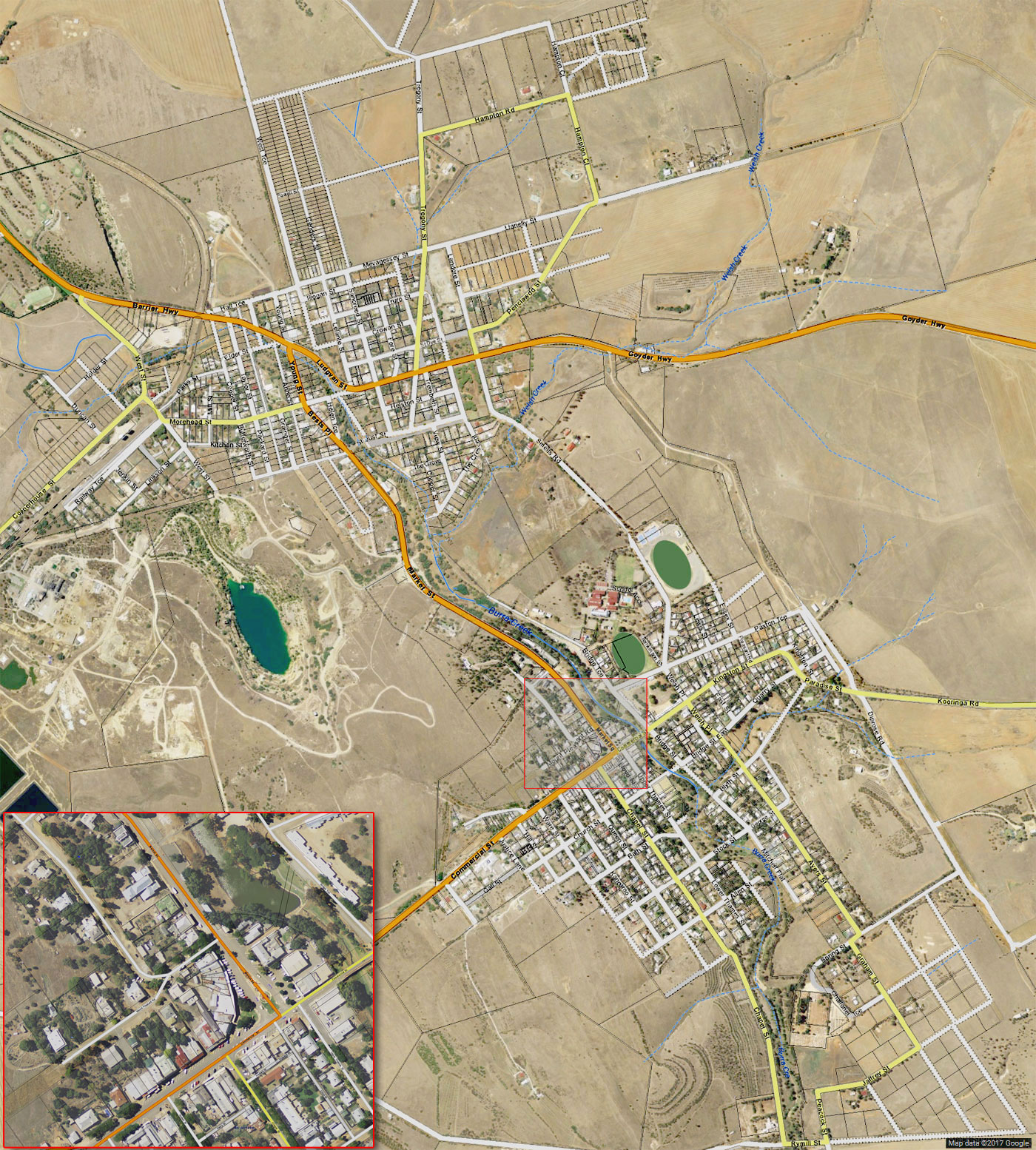 interactive map of the town of Burra