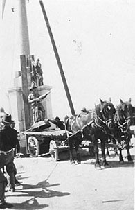 The construction of the Fallen Soldiers'        Memorial in Market Square, Burra,